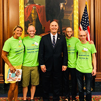 Julie Claeys , her son and two men affected by ectodermal dysplasia advocate on Capitol Hill.